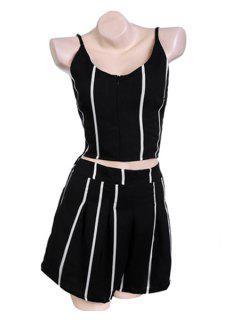 Spaghetti Straps Tank Top And Striped Shorts Suit - Stripe Xl