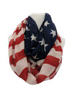 American Flag Print Neck Warmer - Red