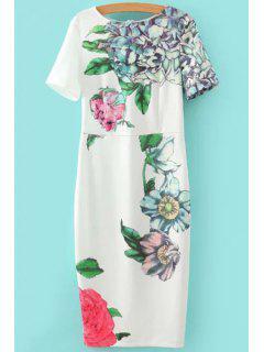 Floral Print Short Sleeve Slimming Dress - White S