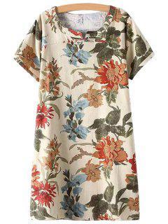 Yellow Floral Print Short Sleeve Dress - Beige L