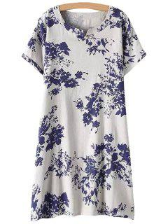 Jewel Neck Blue Floral Print Dress - White Xl
