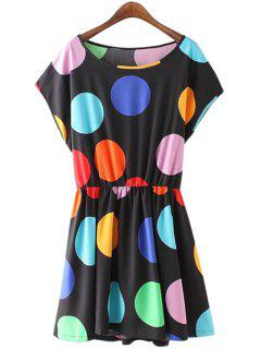 Polka Dot Print Short Sleeve Dress - Black M