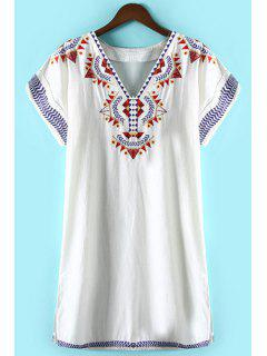 Geometric Pattern Embroidery Dress - White L