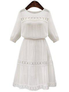 White Hollow Spliced Half Sleeve Dress - White L