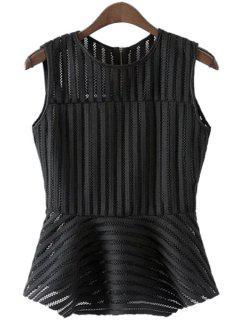 Solid Color Stripe Openwork Sleeveless Tank Top - Black L