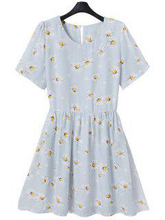 Full Flower Print Short Sleeve Flare Dress - Light Blue M