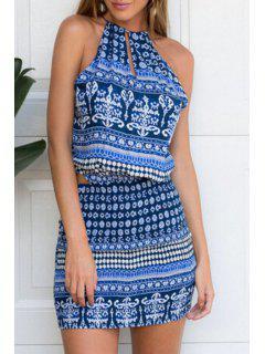 Spaghetti Strap Tie-Up Geometric Print Openwork Dress - Blue M