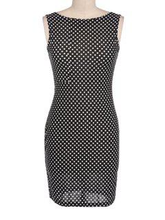 Jewel Neck Polka Dot Backless Sleeveless Dress - Black Xl