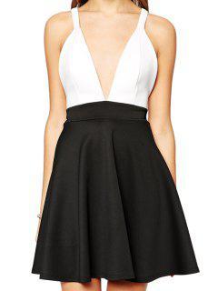 Plunging Neck Backless Cross Color Block Dress - Black Xl