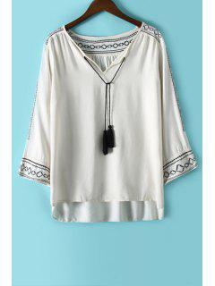 Argyle Embroidery Tassel Long Sleeve Shirt - White L