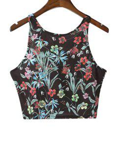 Floral Print Crop Top - Black L