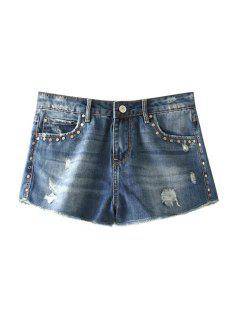 Destroy Wash Rivet Embellished Denim Shorts - Blue 34