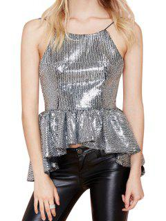 Backless Sequins Asymmetrical Tank Top - Silver M