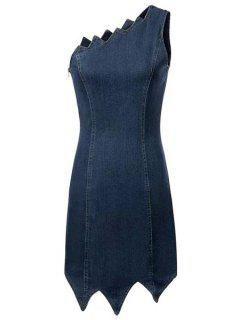 One Shoulder Asymmetrical Edging Denim Dress - Deep Blue L