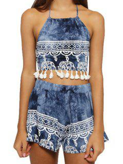 Halter Crop Top And Ethnic Print Shorts Suit - Deep Blue Xl