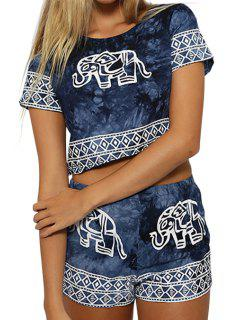 Short Sleeve Crop Top And Elephant Print Shorts Suit - Deep Blue Xl