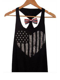 American Flag Back Bowknot Tank Top - Black Xl