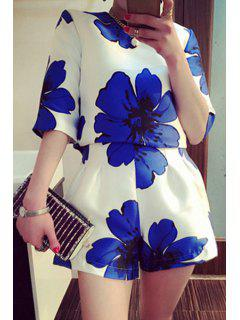 Blouse And Floral Print Wide Leg Shorts Suit - Deep Blue M