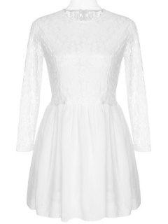 See-Through Lace Splicing Long Sleeve Dress - White M