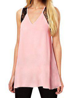 Lace Cross Backless Sleeveless Tank Top - Pink Xl
