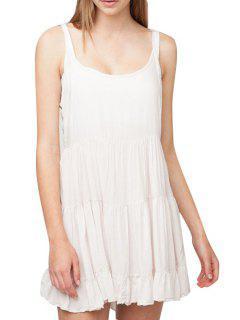 Ruffles Backless Spaghetti Straps Dress - White