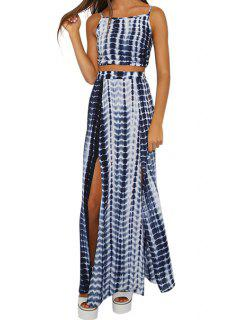 Color Block Stripe Backless Tank Top + Slit Long Skirt - Blue And White M