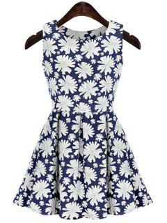 Full Floral Print Sleeveless Dress - Blue And White S