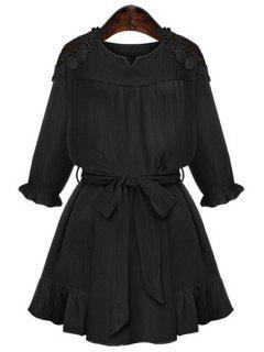 Lace Splicing Flounce Tie-Up 3/4 Sleeve Dress - Black L