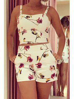 Spaghetti Strap Tank Top + Floral Print Shorts Twinset - White M
