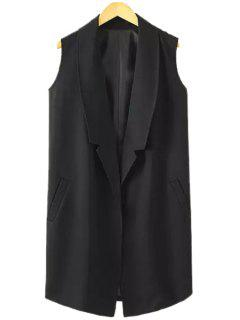 Lapel Solid Color Pocket Sleeveless Waistcoat - Black L