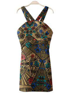 V-Neck Color Block Floral Print Dress - S
