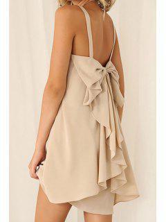 Chiffon Bowknot Embellished Dress - Off-white M