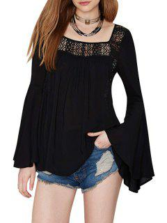 Square Neck Solid Color Openwork Bell Sleeve T-Shirt - Black L