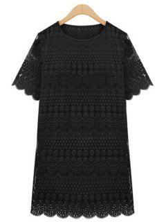 Polka Dot Solid Color Lace Short Sleeve Dress - Black Xl
