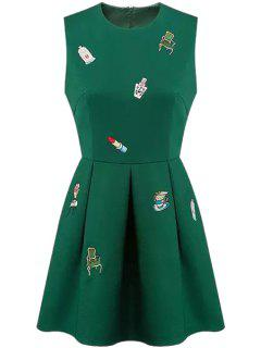 Round Neck Embroidery Zippered Dress - Green S
