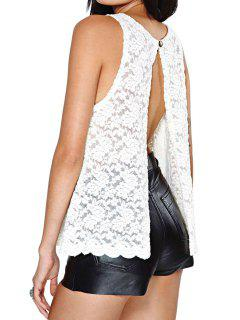 Open Slit Back Lace Tank Top - White L