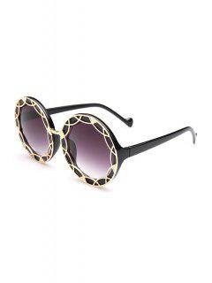 Hollow Out Alloy Round Sunglasses - Black