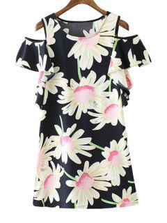 Floral Print Off-The-Shoulder Short Sleeve Dress - Black S
