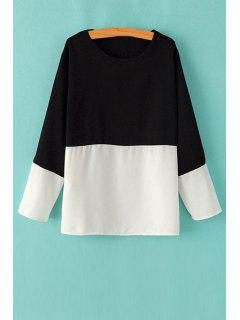 Black White Splicing Long Sleeve T-Shirt - White And Black S