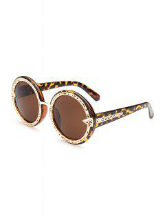 Hollow Out Alloy Splice Leopard Sunglasses - Deep Brown