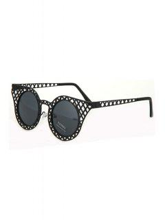 Hollow Out Mesh Sunglasses - Black