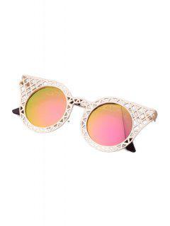 Hollow Out Golden Mesh Sunglasses - Pink