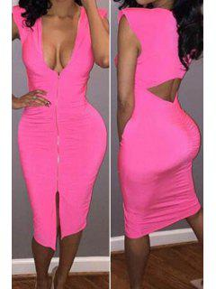 Solid Color Plunging Neck Backless Bodycon Dress - Rose L