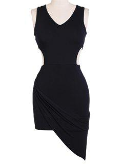 V-Neck Solid Color Sleeveless Bodycon Dress - Black M