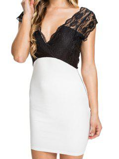 Lace Splicing Plunging Neck Bodycon Dress - White And Black M