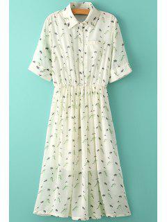 Tiny Floral Print Ruffle Maxi Dress - S