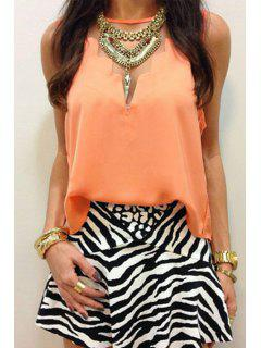 Voile Spliced Solid Color Chiffon Tank Top - Jacinth M