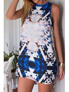 Sleeveless Printed High-Low Hem Dress - Xl