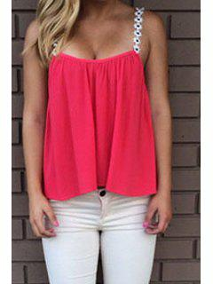 Solid Color Strap Tank Top - Red Xl