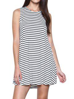 Cut Out A-Line Stripes Dress - White And Black Xl